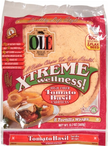 Ole Xtreme Wellness Tomato Basil Tortilla Wraps 8 Count Perspective: front