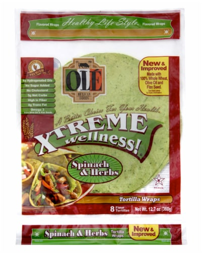 Ole Xtreme Wellness Spinach & Herbs Tortilla Wraps 8 Count Perspective: front