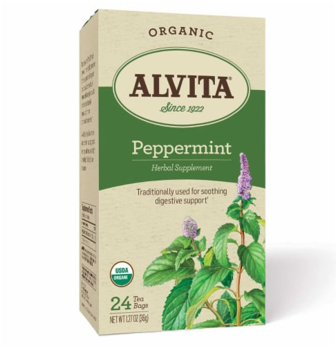 Alvita Organic Peppermint Herbal Tea Perspective: front