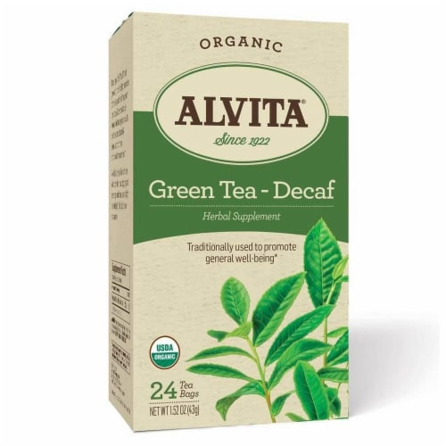 ALVITA ORGANIC DECAF GREEN TEA HERBAL SUPPLEMENT, 24 COUNT Perspective: front
