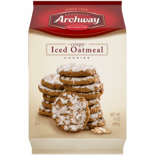 Archway Homestyle Classics Crispy Iced Oatmeal Cookies Perspective: front
