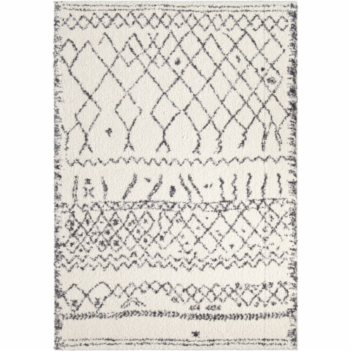 Orian Tribal Walk Area Rug - Soft White Perspective: front