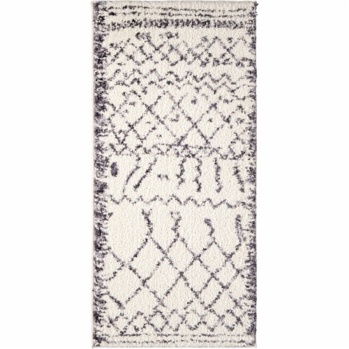 Orian Tribal Walk Accent Rug - Soft White Perspective: front