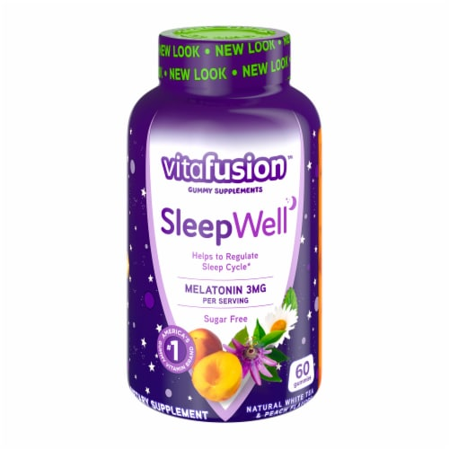 Vitafusion Sleep Well Sugar Free White Tea with Passion Fruit Gummies 60 Count Perspective: front