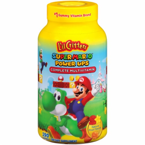 L'il Critter Super Mario Power Ups Fruit Flavored Complete Multivitamin Gummies Perspective: front