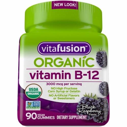 Vitafusion Organic Black Raspberry Flavor Vitamin B-12 Gummies 3000mcg Perspective: front