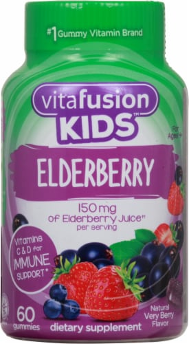 Vitafusion Kids Elderberry Immune Support Dietary Supplement Gummies Perspective: front