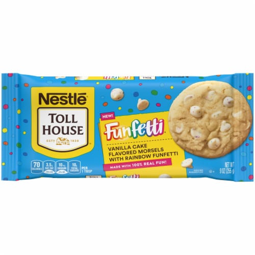 Nestle Toll House Vanilla Cake Flavored Chips with Rainbow Funfetti Bag Perspective: front