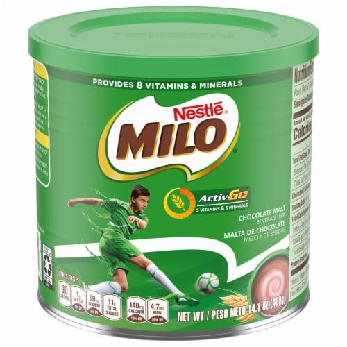 Nestle MILO Activ-Go Chocolate Malt Powder Drink Mix Perspective: front