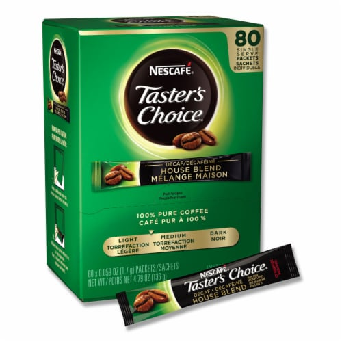 Tasters Choice Decaffeinated Instant Coffee - 80 single serve sticks  box, 6 boxes  case Perspective: front