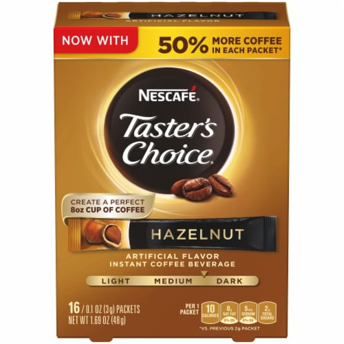 Nescafe Taster's Choice Hazelnut Instant Coffee Packets Perspective: front