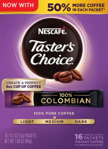 Nescafe Taster's Choice 100% Colombian Instant Coffee Packets Perspective: front