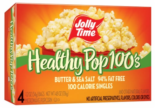 Jolly Time Healthy Pop 100s Butter & Sea Salt Microwave Popcorn Perspective: front