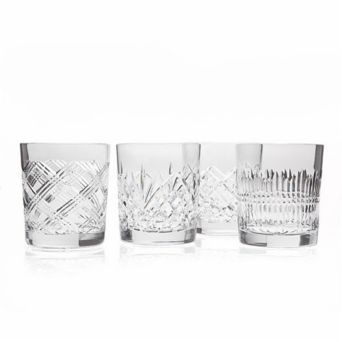 Godinger 4679 Four Assorted Clear Cased Double Old Fashioned Galss Perspective: front