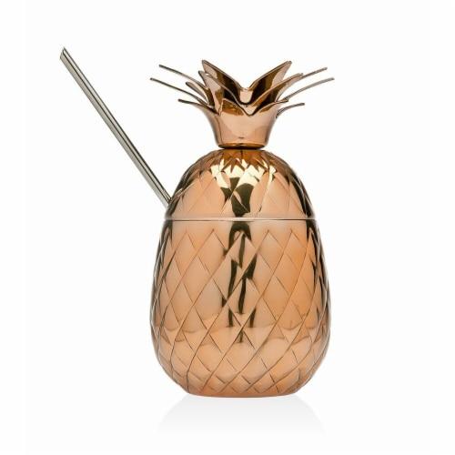 Godinger 6207 Pinapple Covred Mug & Straw, Copper Perspective: front