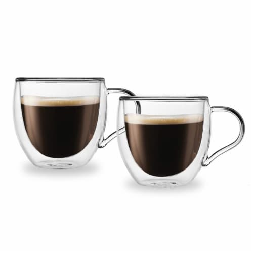 Godinger 18100 3 oz Espresso Glass Wall Coffee Mug, Clear - 2 Pair Perspective: front