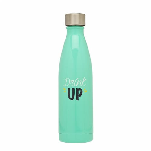 Godinger 19236 Drink Up Insulated Bottle, Green Perspective: front