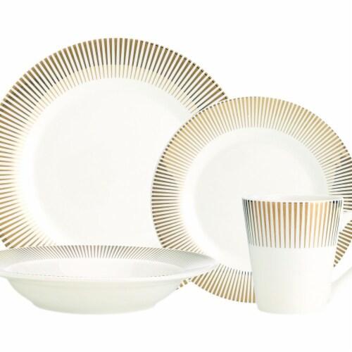 Godinger 64045 Ravi Metallic Gold Dinnerware Set - 16 Piece Perspective: front