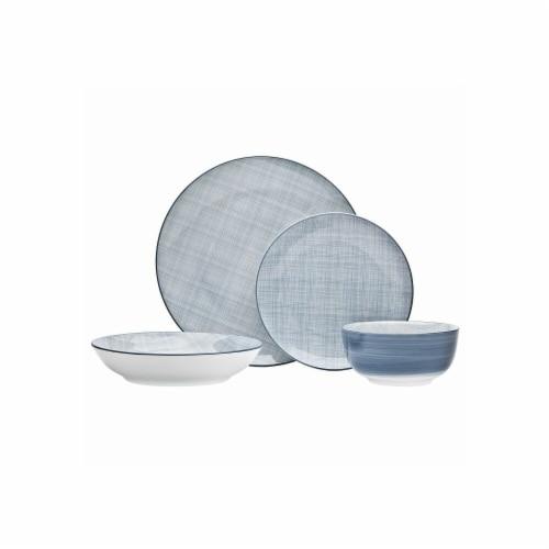Godinger 64081 Varick Dinner Plates, Blue Perspective: front