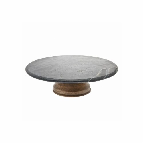 Godinger 64520 Slate & Wood Cake Stand Perspective: front