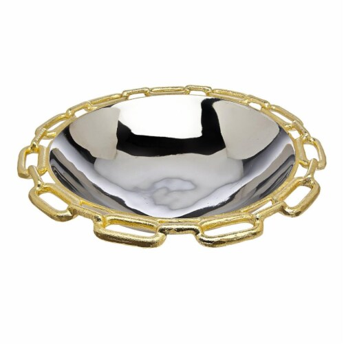 Godinger 82733 Gold Chain Border Round Bowl Perspective: front