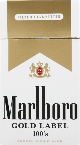 Marlboro Gold Lable 100's Cigarettes Perspective: front