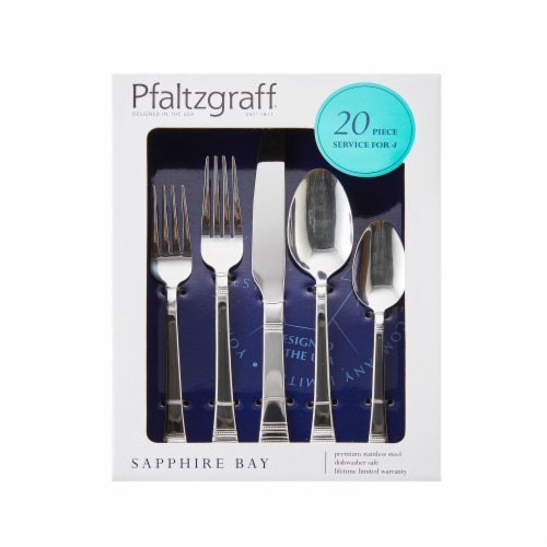 Pfaltzgraff Sapphire Bay Flatware Set 20 Piece Perspective: front