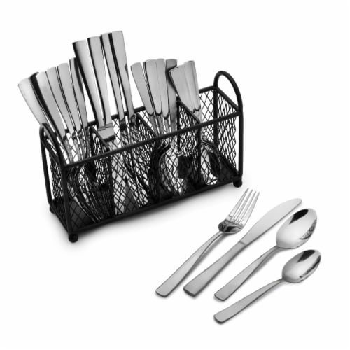 Pfaltzgraff Satin Danford Flatware Set with Caddy Perspective: front