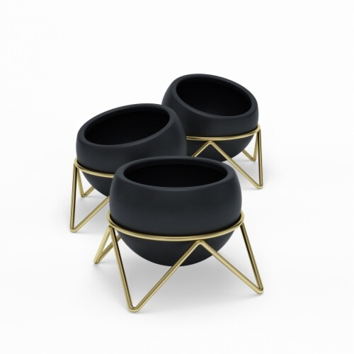Umbra 1013191-1137 Potsy Planter, Black & Brass - Set of 3 Perspective: front