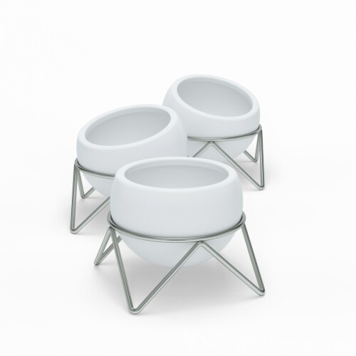 Umbra 1013191-670 Potsy Planter, White & Nickel - Set of 3 Perspective: front