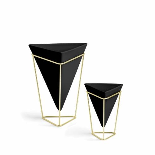 Umbra 1004372-1137 Trigg Tabletop Planter & Geometric Storage Vessel, Black & Brass - Set of Perspective: front