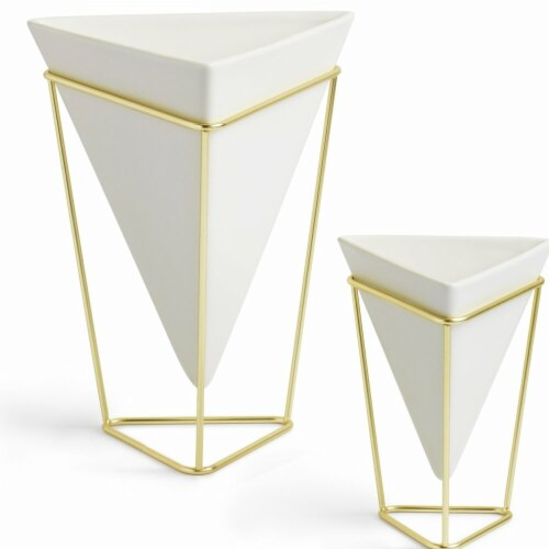Umbra 1004372-524 Trigg Desktop Planter Vase & Geometric Container - White Ceramic & Brass - Perspective: front