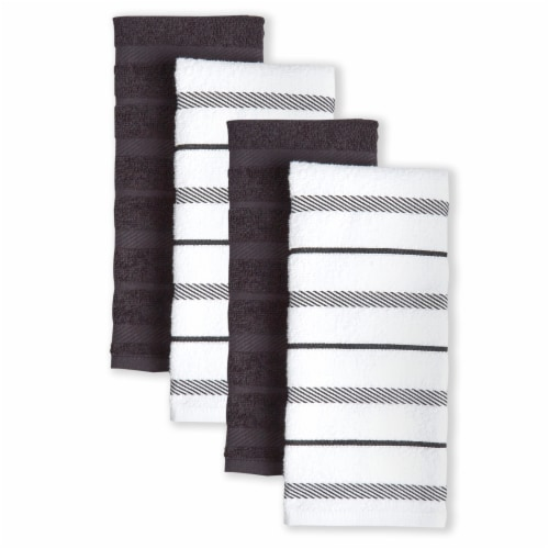 KitchenAid Albany Stripe Kitchen Towel Set - 4 Pack - Black / Ivory Perspective: front