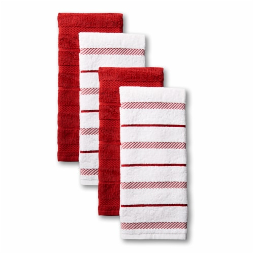 KitchenAid Albany Stripe Kitchen Towel Set - 4 Pack - Red Perspective: front
