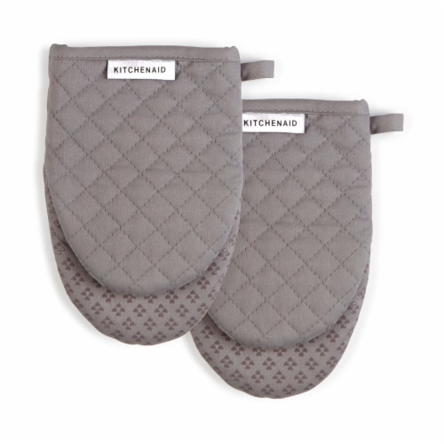 KitchenAid Asteroid Mini Oven Mitt Set - 2 Pack - Gray Perspective: front