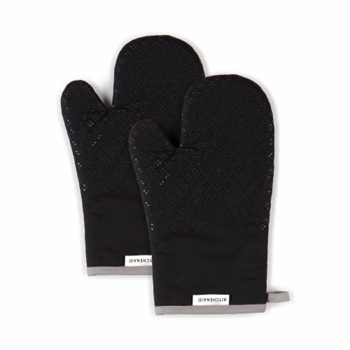 KitchenAid Asteroid Oven Mitt Set - 2 Pack - Black Perspective: front