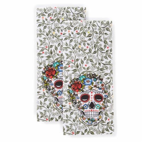 Fiesta Skull & Vine Kitchen Towel Set - 2 Pack Perspective: front