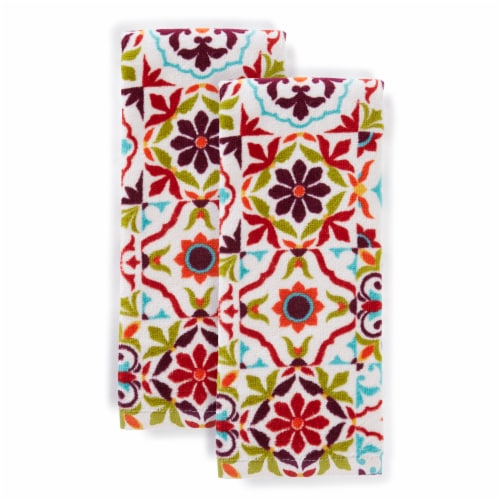 Fiesta Worn Tiles Kitchen Towel Set - 2 Pack - Red Perspective: front
