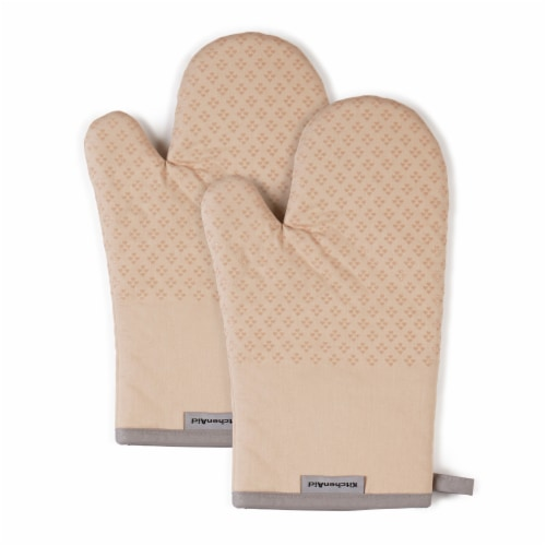 KitchenAid Asteroid Oven Mitt Set - 2 Pack - Tan Perspective: front
