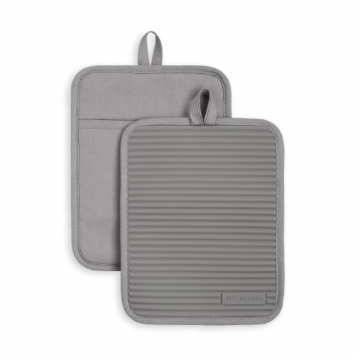 KitchenAid Ribbed Soft Silicone Pot Holder Set - 2 Pack - Gray Perspective: front