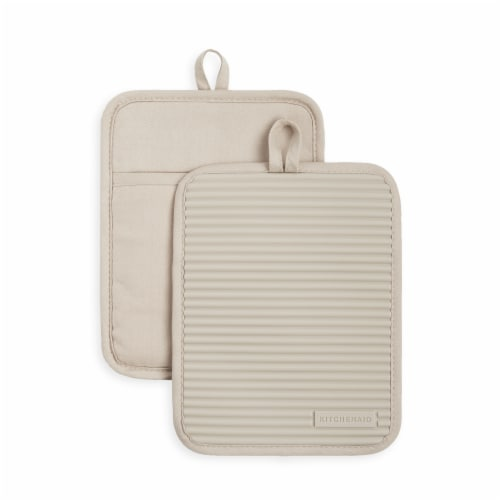 KitchenAid Ribbed Soft Silicone Pot Holder Set - 2 Pack - Tan Perspective: front