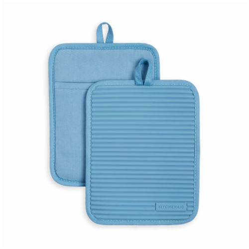 KitchenAid Ribbed Soft Silicone Pot Holder Set - 2 Pack - Blue Perspective: front