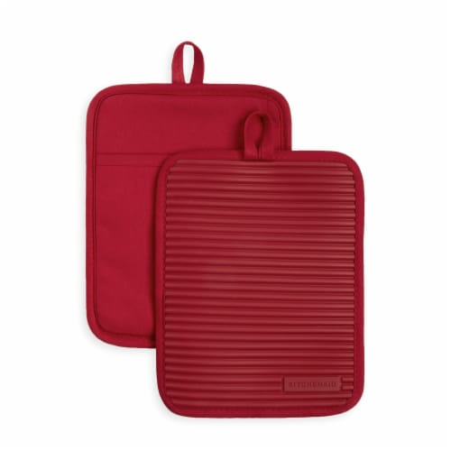KitchenAid Ribbed Soft Silicone Pot Holder Set - 2 Pack - Red Perspective: front
