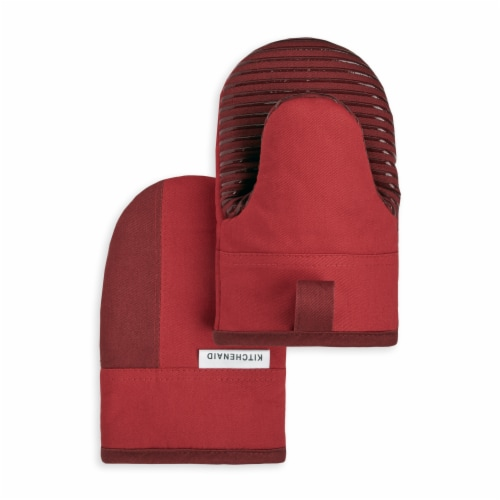 KitchenAid Beacon Mini Oven Mitt Set - 2 Pack - Red / Dark Red Perspective: front