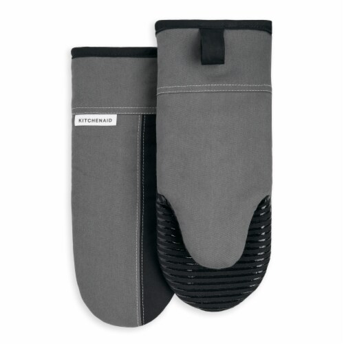 KitchenAid Beacon Oven Mitt Set - 2 Pack - Silver / Black Perspective: front