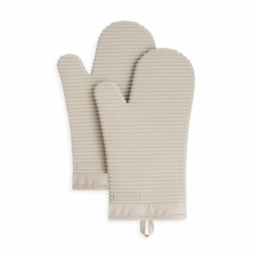 KitchenAid Ribbed Soft Silicone Oven Mitt Set - 2 Pack - Tan Perspective: front