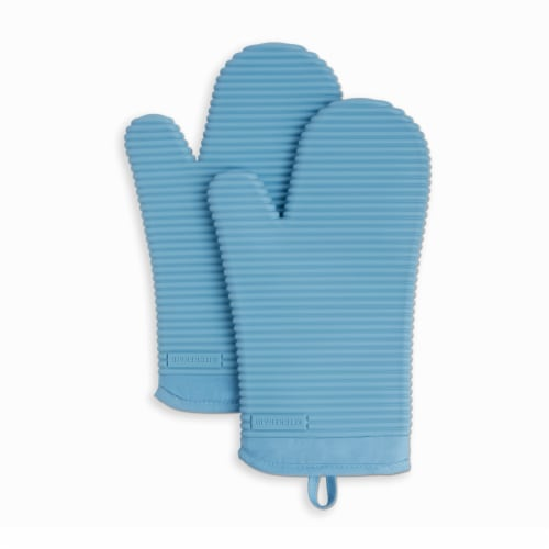 KitchenAid Ribbed Soft Silicone Oven Mitt Set - 2 Pack - Blue Perspective: front