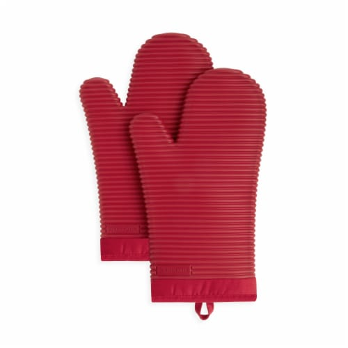 KitchenAid Ribbed Soft Silicone Oven Mitt Set - 2 Pack - Red Perspective: front
