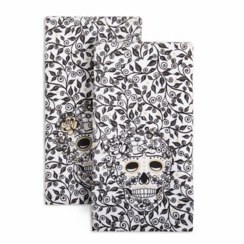 Fiesta Skull & Vine Kitchen Towel Set - 2 Pack - Black / White Perspective: front