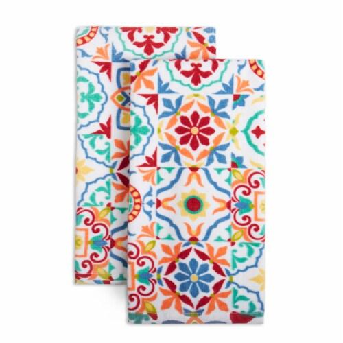 Fiesta Worn Tiles Kitchen Towel Set - 2 Pack - Orange Perspective: front